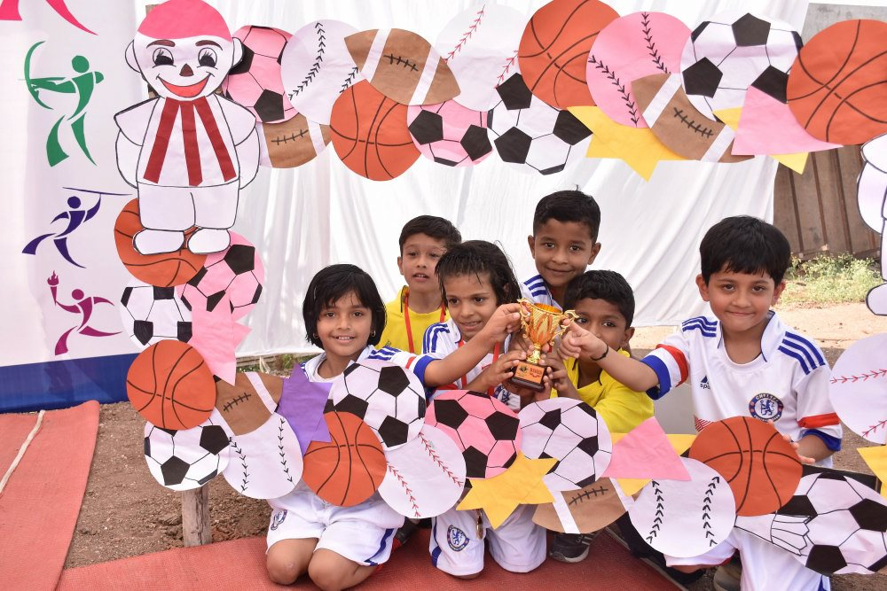 award winning kids football game amravati school vijaya convent