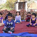 vijaya cbse school amravati nursery kids doing meditation at playhouse