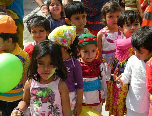 holi festive celebration for children at vijaya convent in the school
