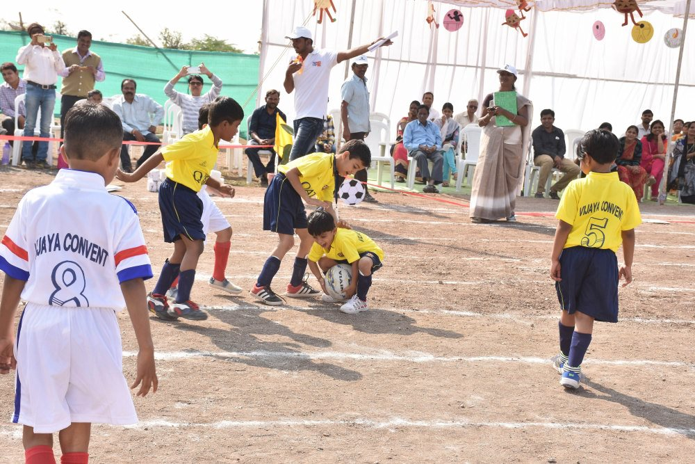 top 5 schools in amravati cbse pattern kids school vijaya convent playing football game sports day