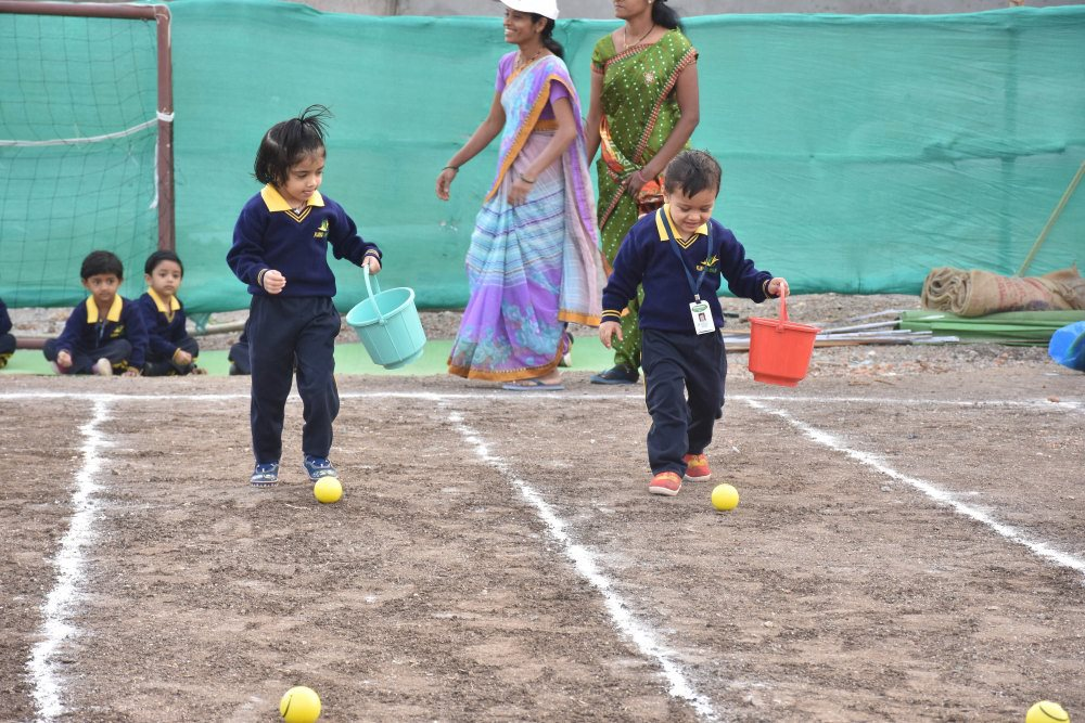 preschool pre primary schools cbse pattern vijaya convent amravati ball collecting game sport day vijaya convent