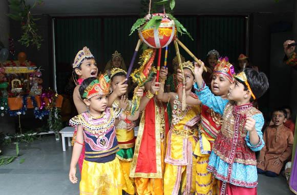 vijaya convent shree krishna janmashtami celebration dahi handi in the school